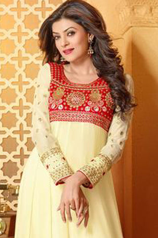 The Sushmita Sen Collection:Charming Designer Bollywood Anarkali Cream Semi stitched Salwar Kameez By atisundar - 4448