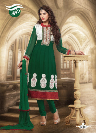 atisundar Vibha: Appealing Unstitched Salwar Kameez In Green - 3307 - atisundar - 1 - click to zoom