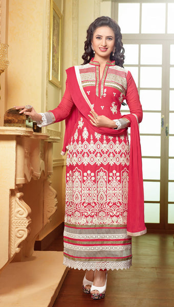Designer Embroidered Straight Cut In Pure Cotton:atisundar fair   in Pink - 5733 - atisundar - 3 - click to zoom