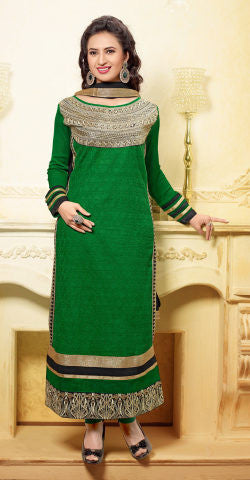 Designer Embroidered Straight Cut In Pure Cotton:atisundar lovely   in Dark Green - 5735 - atisundar - 1 - click to zoom