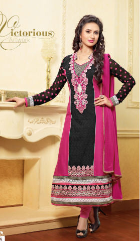 Designer Embroidered Straight Cut In Pure Cotton:atisundar fascinating   in Black And Pink - 5740 - atisundar - 1 - click to zoom