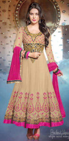 atisundar ravishing Beige Designer Embroidered Anarkali - 5934 - atisundar - 1 - click to zoom