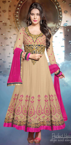 atisundar ravishing Beige Designer Embroidered Anarkali - 5934 - atisundar - 3 - click to zoom