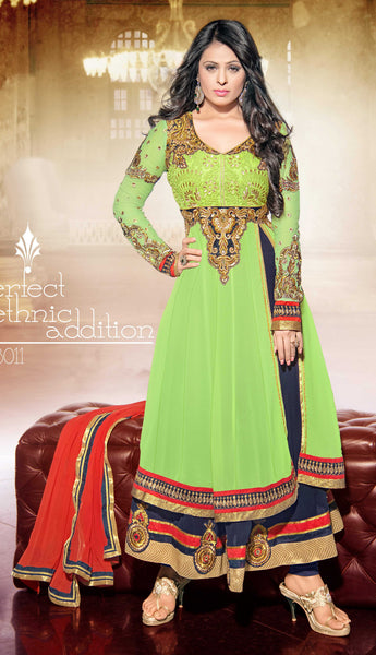 atisundar marvelous Parrot Green  Designer Embroidered Anarkali In Pure Bemberg Viscose Georgette - 5938 - atisundar - 3 - click to zoom