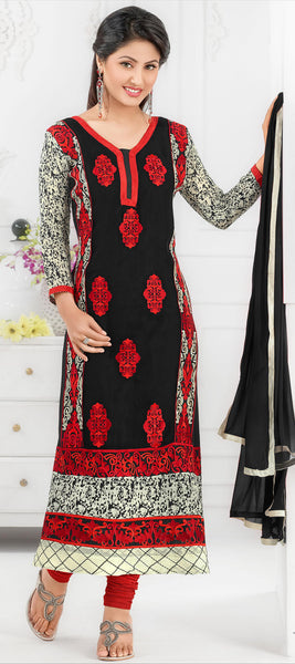 The Swanky Designer Embroidered Straight Cut by Heena Khan:atisundar superb Black Designer Straight Cut  - 6136 - click to zoom