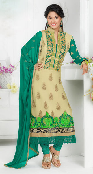 The Swanky Designer Embroidered Straight Cut by Heena Khan:atisundar cute Beige Designer Straight Cut  - 6138 - atisundar - 2 - click to zoom