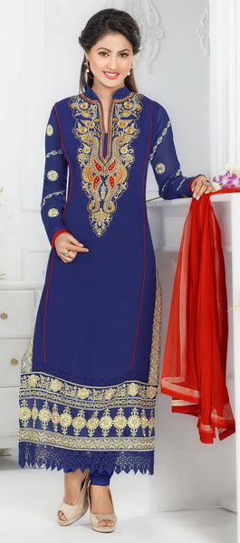 The Swanky Designer Embroidered Straight Cut by Heena Khan:atisundar magnificent Blue Designer Straight Cut  - 6141 - atisundar - 2 - click to zoom