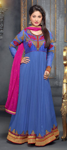 Embroidered Party Wear Anarkali in Net and Faux georgette:atisundar ravishing Blue embroidered Party Wear Anarkali - 6148 - atisundar - 1 - click to zoom