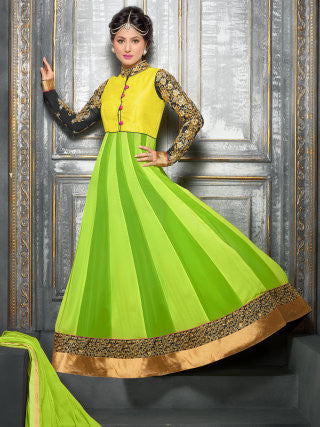 Embroidered Party Wear Anarkali in Net and Faux georgette:atisundar Attractive Green embroidered Party Wear Anarkali - 6149 - atisundar - 1 - click to zoom