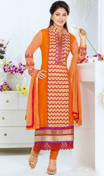 The Heena Khan Collection:atisundar Beautiful Orange Designer Straight Cut  - 9894 - atisundar - 1 - click to zoom
