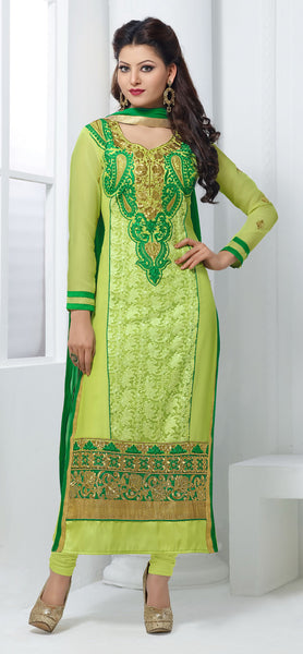The Urvashi Rautela Collection:atisundar enticing Light Green Designer Straight Cut  - 6635 - atisundar - 2 - click to zoom