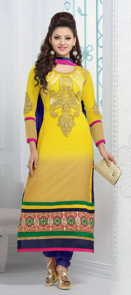The Urvashi Rautela Collection:atisundar Great Yellow Designer Straight Cut  - 6636 - click to zoom