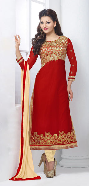 The Urvashi Rautela Collection:atisundar appealing Red Designer Straight Cut  - 6638 - atisundar - 2 - click to zoom