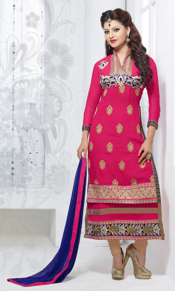 The Urvashi Rautela Collection:atisundar pretty Pink Designer Straight Cut  - 6640 - atisundar - 2 - click to zoom