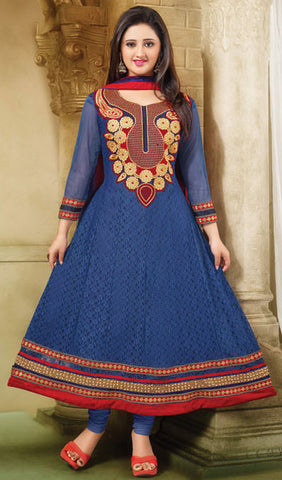 The Rashami Desai Collection:atisundar cute Blue Embroidered Anarkali - 9907 - atisundar - 1 - click to zoom