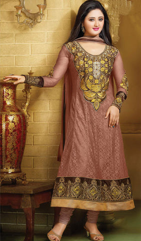 The Rashami Desai Collection:atisundar lovely Brown Embroidered Anarkali - 9909 - atisundar - 1 - click to zoom