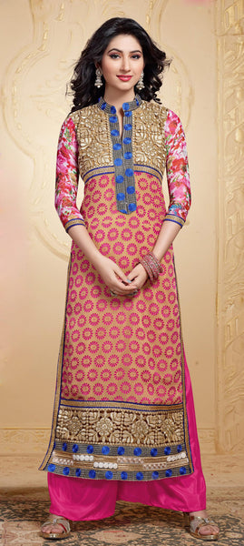 Designer Straight Cut Suit:atisundar superb Pink And Beige Designer Straight Cut  - 6666 - atisundar - 3 - click to zoom