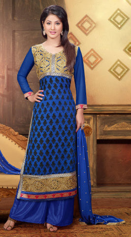 Designer Straight Cut Suit:atisundar enticing Blue Designer Straight Cut  - 6667 - atisundar - 1 - click to zoom