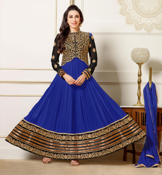 The Karishma Kapoor Collection:atisundar fair Blue embroidered Party Wear Anarkali - 6787 - atisundar - 2 - click to zoom
