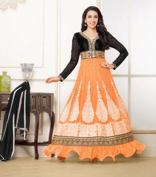 The Karishma Kapoor Collection:atisundar Attractive Orange embroidered Party Wear Anarkali - 6788 - click to zoom
