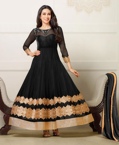The Karishma Kapoor Collection:atisundar magnificent Black embroidered Party Wear Anarkali - 6793 - atisundar - 3 - click to zoom