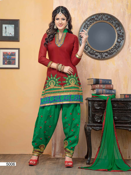 Embroidered Designer Patiala Suits In Cotton:atisundar marvelous   in Maroon - 5702 - atisundar - 3 - click to zoom