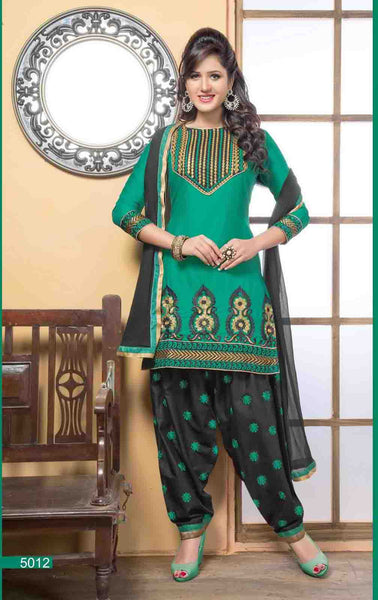 Embroidered Designer Patiala Suits In Cotton:atisundar angelic   in Bottle Green - 5708 - atisundar - 3 - click to zoom