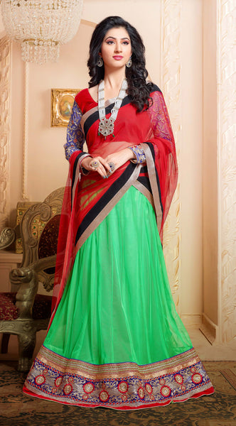 Disha Parmar Lehenga Collection:atisundar Beautiful Velvet  Lehenga in Red - 6833 - atisundar - 3 - click to zoom