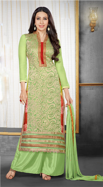 The Karishma Kapoor Collection:atisundar splendid Light Green Designer Straight Cut  - 7023 - click to zoom