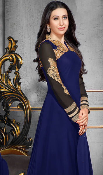 The Karishma Kapoor Collection:atisundar wonderful Blue Designer Party Wear Straight Cut Suits In Faux Georgette - 9937 - atisundar - 1 - click to zoom