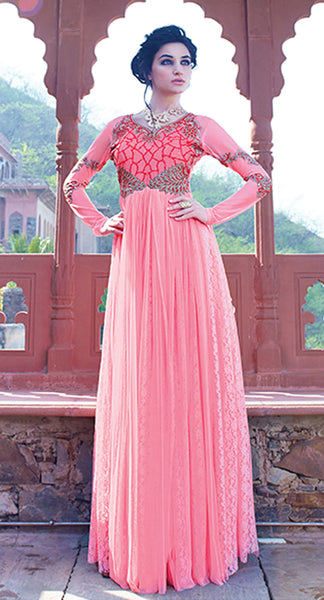 Designer Gowns!:atisundar Charismatic Russel Net And Net Designer Partywear Gowns in Pink - 7100 - atisundar - 3 - click to zoom