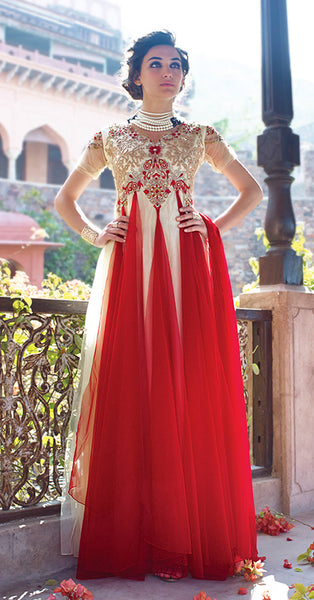 Designer Gowns!:atisundar Attractive Net Designer Partywear Gowns in Red And White - 7102 - atisundar - 4 - click to zoom