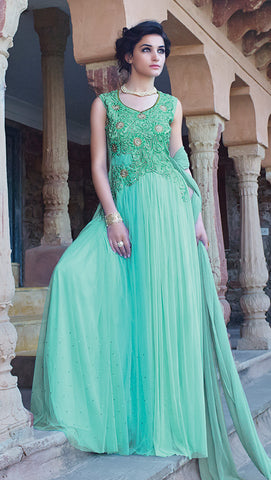 Designer Gowns!:atisundar marvelous Net Designer Partywear Gowns in Sea Green - 7105 - atisundar - 3 - click to zoom