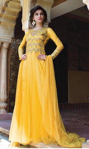 Designer Gowns!:atisundar excellent Net Designer Partywear Gowns in Yellow - 7108 - atisundar - 1 - click to zoom
