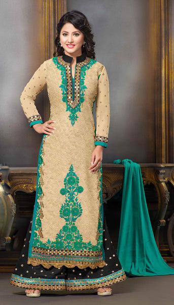 The Heena Khan Collection:atisundar classy Cream Designer Straight Cut  - 7301 - click to zoom