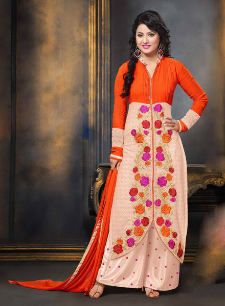 The Heena Khan Collection:atisundar comely Orange And Pink Designer Straight Cut  - 7307 - atisundar - 2 - click to zoom