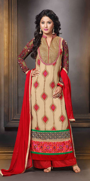 The Heena Khan Collection:atisundar delicate Beige Designer Straight Cut  - 7311 - atisundar - 2 - click to zoom