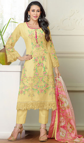 The Karishma Kapoor Collection:atisundar splendid Yellow Designer Straight Cut  - 9797 - atisundar - 1 - click to zoom
