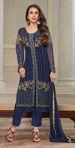 The karishma Kapoor Collection!:atisundar Attractive Blue Designer Straight Cut  - 7862 - atisundar - 1 - click to zoom