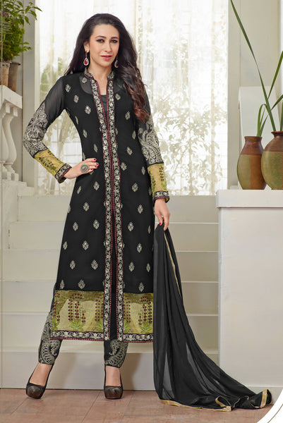 The karishma Kapoor Collection!:atisundar graceful Black Designer Straight Cut  - 7866 - atisundar - 1 - click to zoom