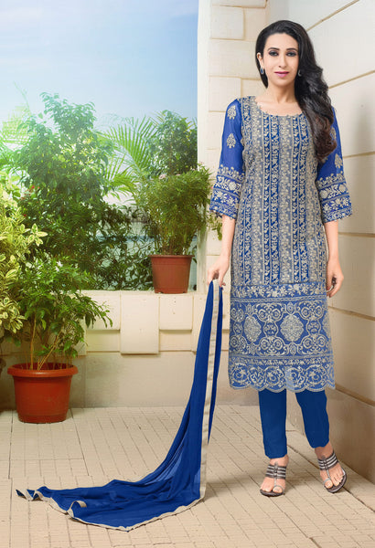 The karishma Kapoor Collection:atisundar ravishing Blue Designer Straight Cut  - 8307 - atisundar - 1 - click to zoom
