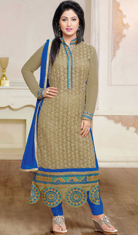 The Heena Khan Collection:atisundar bewitching Grey Designer Embroidered Straight Cut Suit Featuring Heena Khan - 10219 - atisundar - 1 - click to zoom
