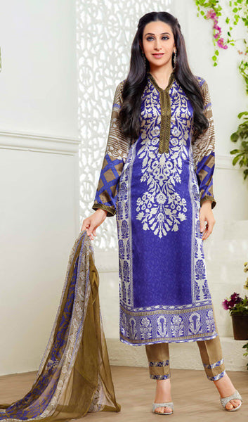 The Karishma Kapoor Collection:atisundar lovely Blue Designer Straight Cut  - 9860 - atisundar - 1 - click to zoom