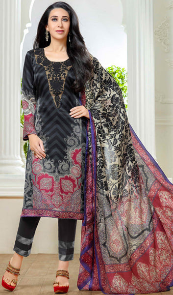 The Karishma Kapoor Collection:atisundar admirable Black And Grey Designer Straight Cut  - 9862 - atisundar - 1 - click to zoom