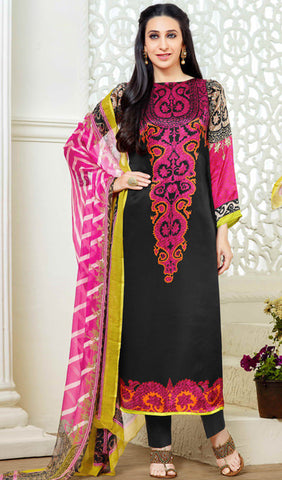 The Karishma Kapoor Collection:atisundar elegant Black And Pink Designer Straight Cut  - 9866 - atisundar - 1 - click to zoom