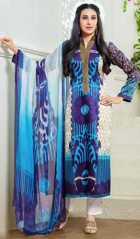 The Karishma Kapoor Collection:atisundar splendid Blue And Purple Designer Straight Cut  - 9870 - atisundar - 1 - click to zoom