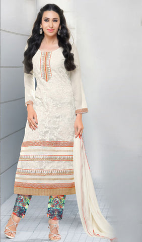The Karishma Kapoor Collection:atisundar superb White Embroidered Chain Stitch Lakhnavi Work Straight Cut Suit In Net And Faux Georgette With Printed Bottom - 10041 - atisundar - 1 - click to zoom