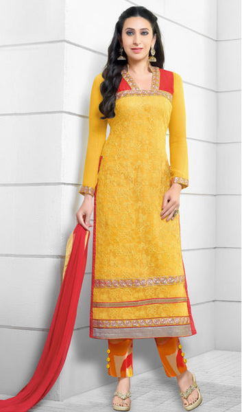 The Karishma Kapoor Collection:atisundar superb Yellow And Red Embroidered Chain Stitch Lakhnavi Work Straight Cut Suit In Net And Faux Georgette With Printed Bottom - 10043 - atisundar - 1 - click to zoom