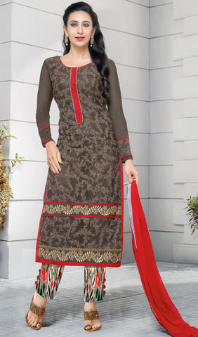 The Karishma Kapoor Collection:atisundar enticing Grey Embroidered Chain Stitch Lakhnavi Work Straight Cut Suit In Net And Faux Georgette With Printed Bottom - 10044 - atisundar - 1 - click to zoom