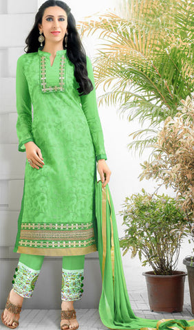 The Karishma Kapoor Collection:atisundar fascinating Parrot Green  Embroidered Chain Stitch Lakhnavi Work Straight Cut Suit In Net And Faux Georgette With Printed Bottom - 10045 - atisundar - 1 - click to zoom